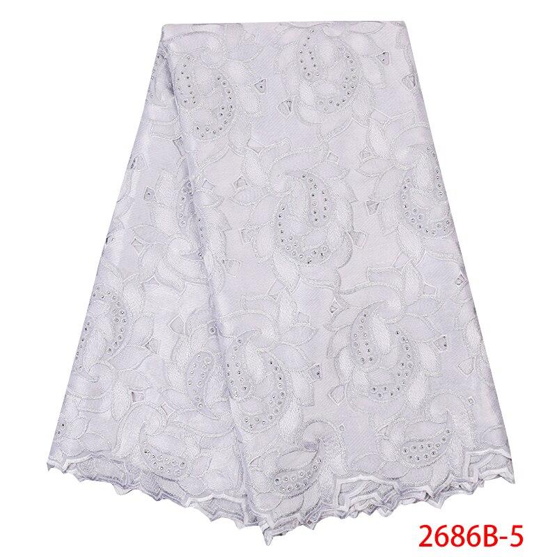 Dentelle africaine tissu 2019 haute qualité Voile suisse lacets coton brodé nigérian dentelle tissu pour femmes blanc KS2686B-5