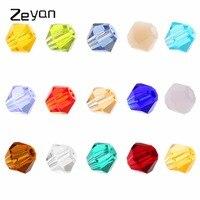 Zeyan Bán Buôn 4 mét Mặt Bicone Crystal Glass Rõ Ràng Hạt Trong số lượng lớn 15 Màu Sắc cho Trang Sức Làm DIY Vòng Đeo Tay với Hộp (1500 CÁI)