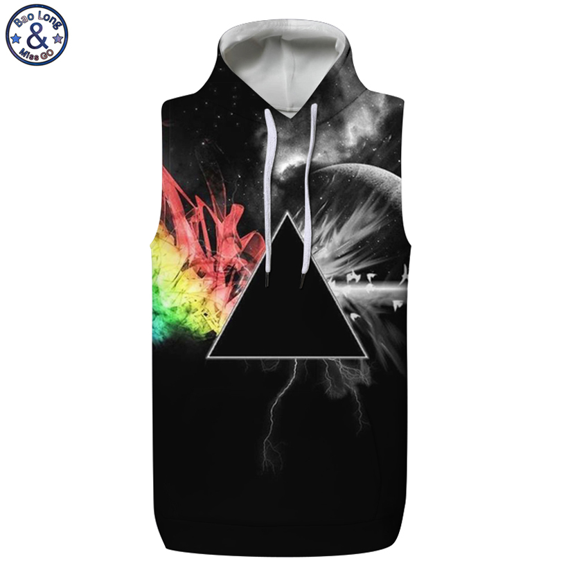 Mr.BaoLong New arrive black triangle 3D printed sleeveless hooded hoodies men design hip-hop style 3D hoodie man WH13