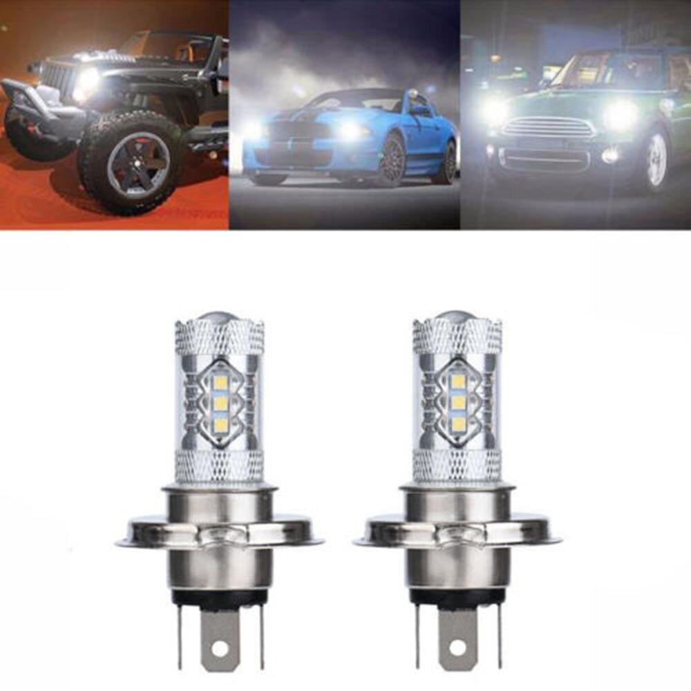 2Pcs 80W H4 9003 HB2 LED Fog Light Bulb 1500LM High Low Beam Headlight Helpful brand new 480 600lm 2x white hb2 3528 h4 9003 120 smd high low beam led fog light headlight lamp 6000k 50 000 hours lifespan