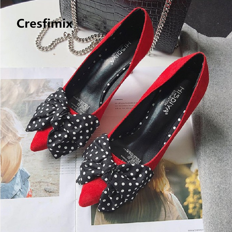 Cresfimix Tacones Altos Women Cute Bow Tie Comfortable Pu Leather Pointed Toe High Heel Shoes Lady Cool Stylish Shoes C2981