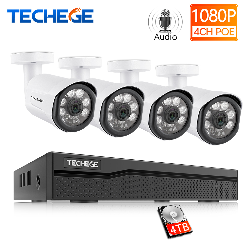 Techege Full HD 1080P H 265 4CH CCTV System 4pcs 2MP Metal Outdoor IP Camera Audio