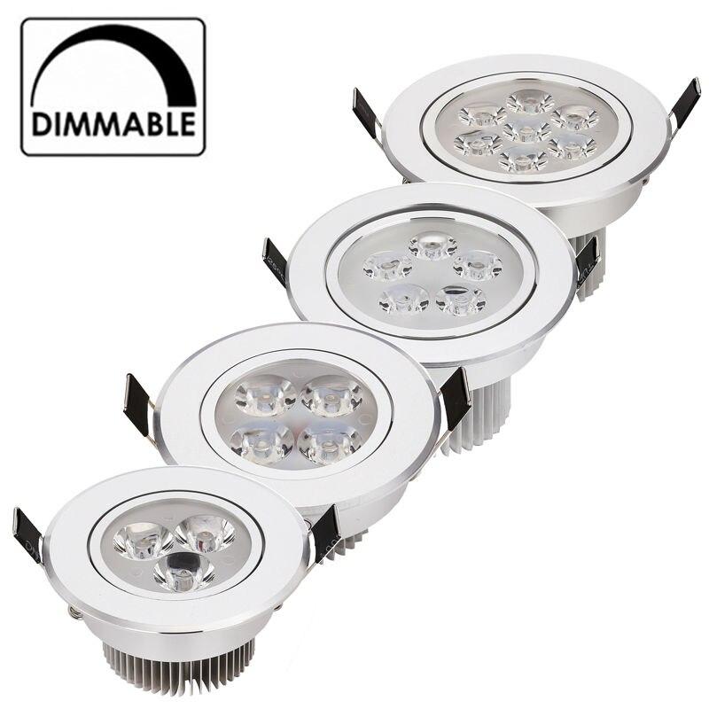20 шт./лот оптовая цена 3 Вт 9 Вт 12 Вт 15 Вт 21 Вт светодиодные светильники встраиваемые AC85-265V серебро 110-770LM холодной /Pure/теплый белый