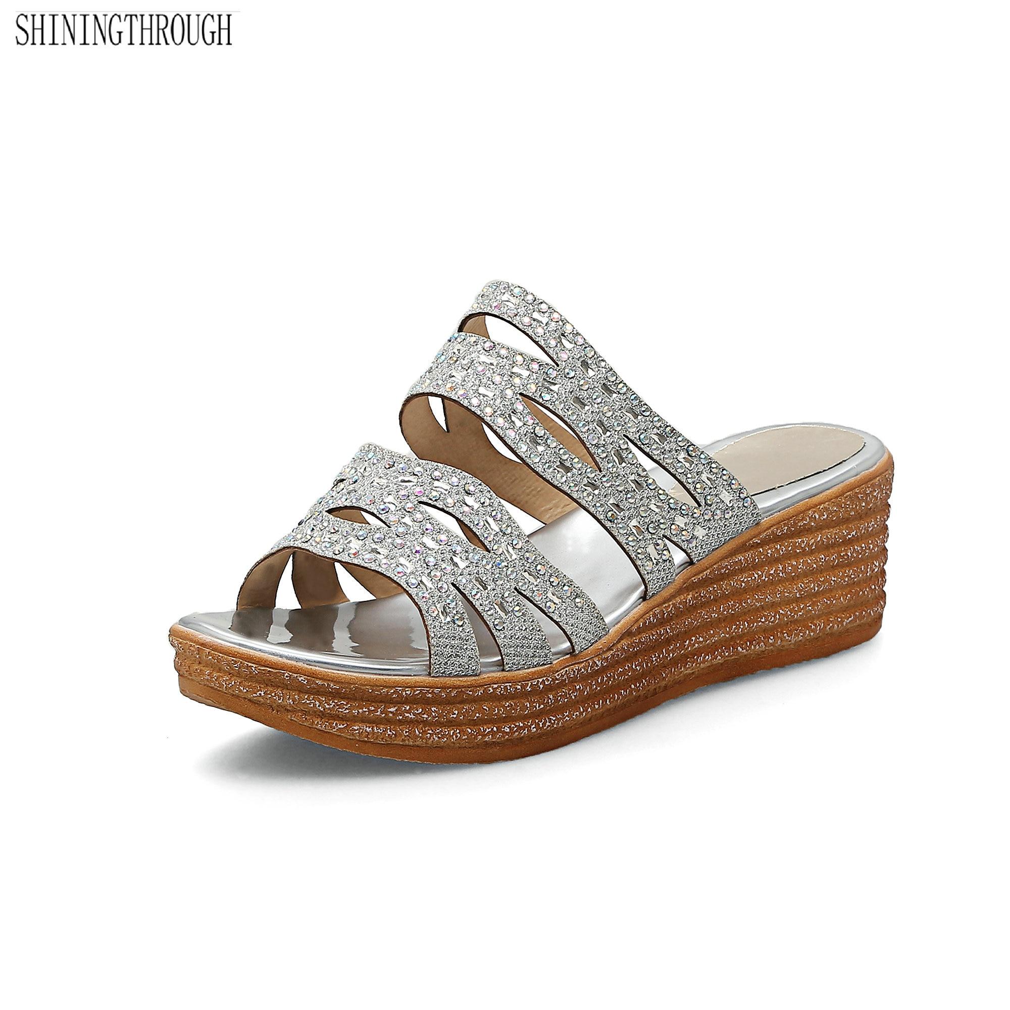 2018 sandals Women wedges sandals crystal high heels sandals summer shoes Casual platform shoes woman ruru15070 to 218