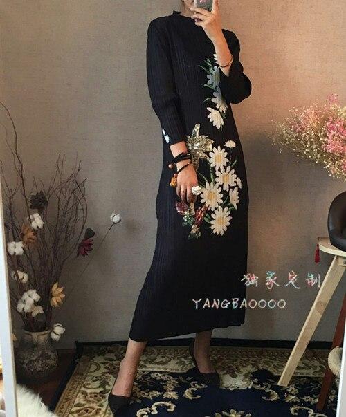 Del Envío Cuartos Negro cuello Vestido En O Stock Gratis Moda Impreso Tres Pliegue Nueva Miyake Verano rvwZq8rH