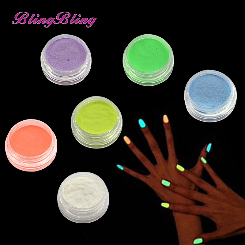 New Powder Glitter Glow in the Dark 6 Color Nail Art Ultrafine Fluorescent Effect Nail Design Pigment 3D Glow Dust Decorations