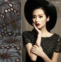Black Three Dimensional Lace Fabric Craft Skinny Silk Coat Dressmaking Scarf Material Coat Skirt Clothes Fabric
