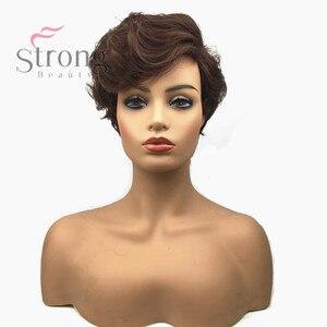 Image 1 - StrongBeauty Frauen Synthetische Capless Perücke Braun Pixie Cut Haar Asymmetrische Side Bang Kurze Lockige Perücken