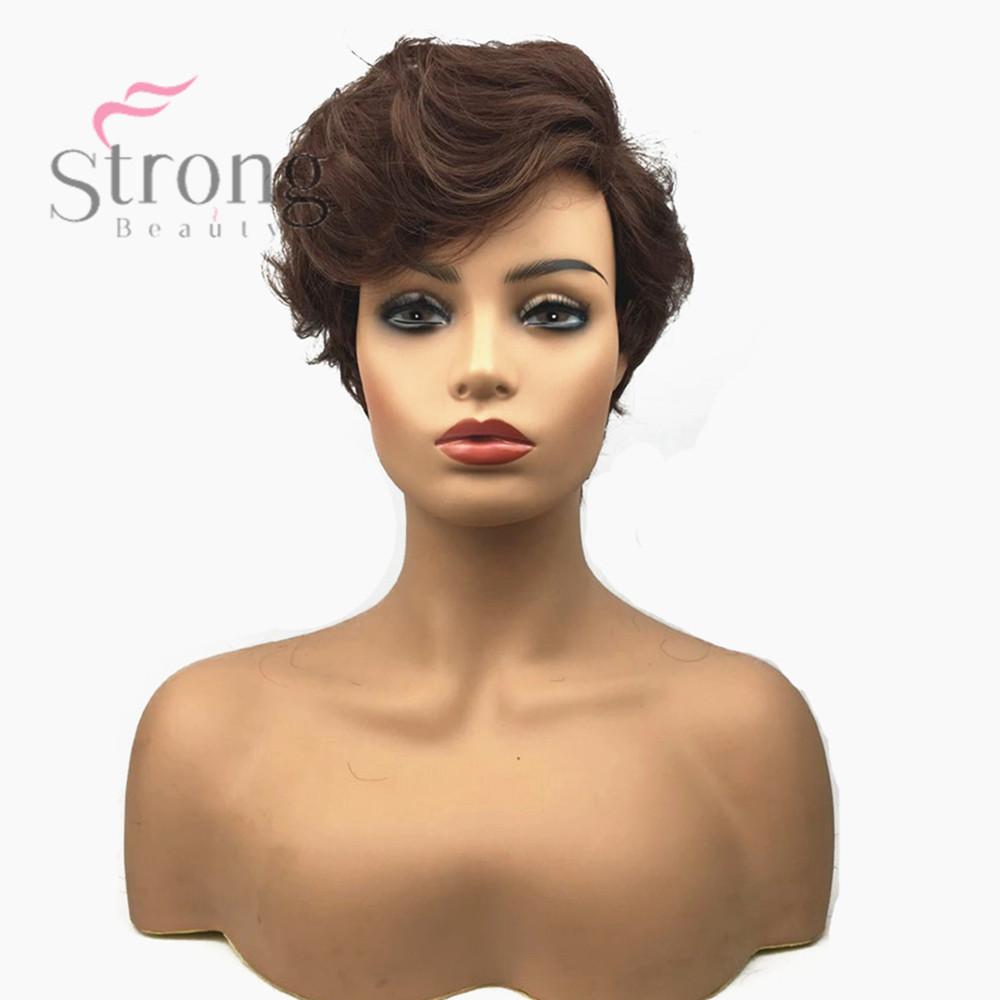 StrongBeauty Women Synthetic Capless Wig Brown Pixie Cut Hair Asymmetrical Side Bang Short Curly Wigs