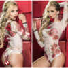 Hot Sale Sexy Lingerie Women Lace Mesh Rose Perspective One Piece Siamese Babysuits High Quality White
