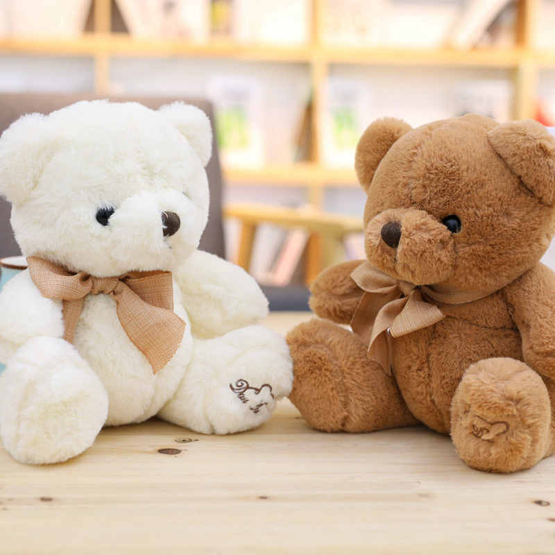 1pc 20/25/32/40CM Stuffed Teddy Bear Dolls Patch Bears Two Colors Plush Toys Best Gift For Children Kids Toy Wedding Gifts