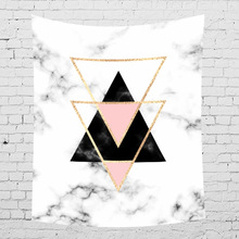 Nordic Style Marble Print Macrame Tapestry Pink And Golden Texture Wall Hanging Modern Room Decor Geometric Carpet
