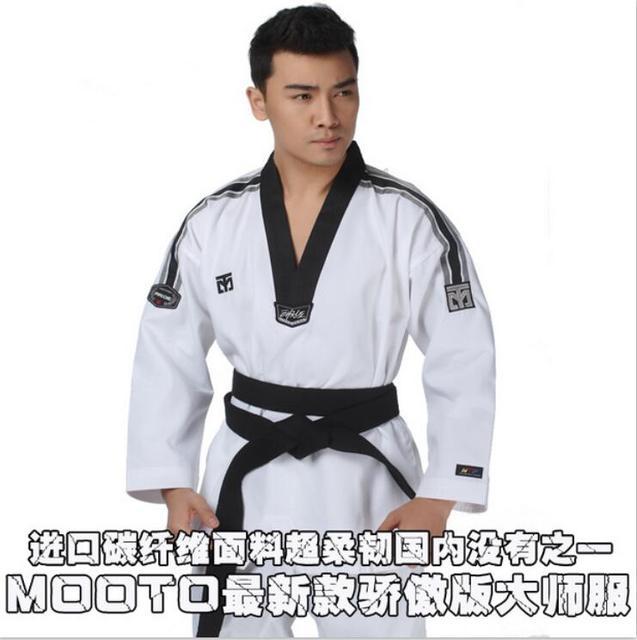 Mooto Master Taekwondo Dobok Trainers Slijtage Volwassen Witte Lange Mouwen Master Uniformen Taekwondo Leraar Uniformen