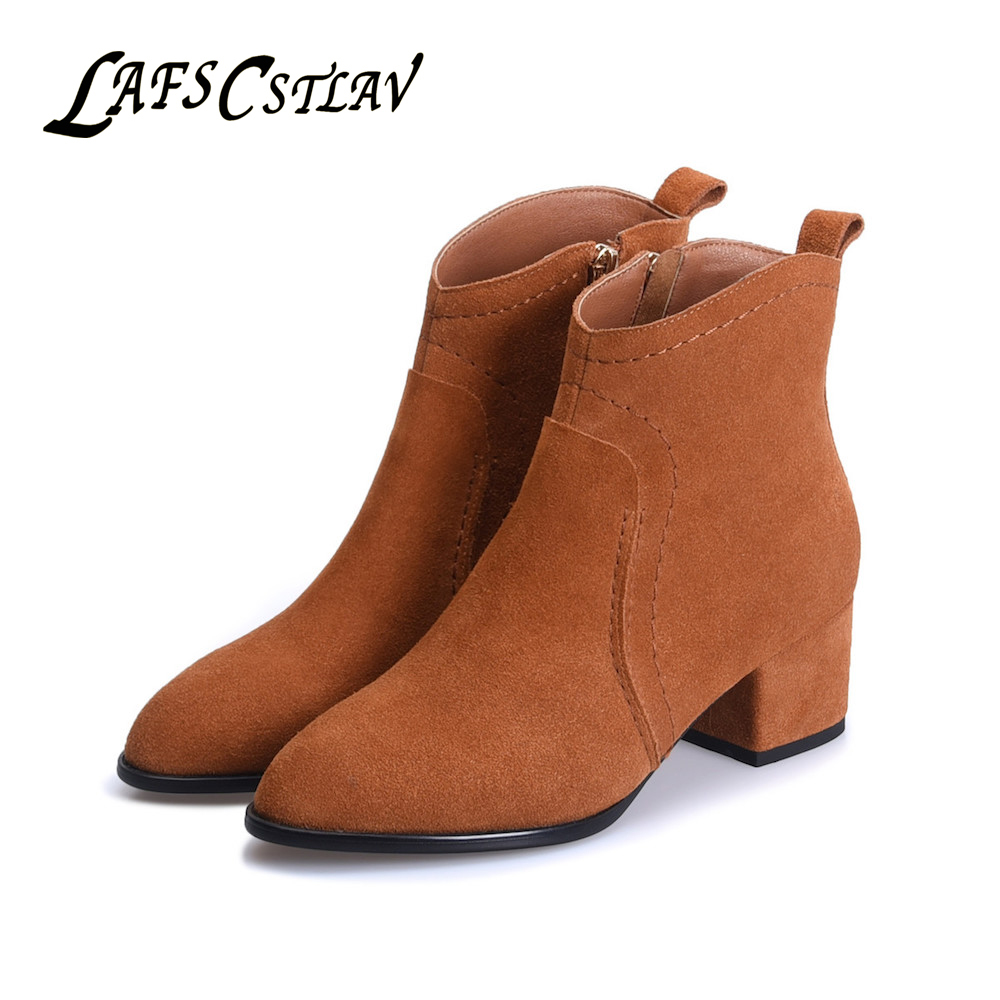 LAFS CSTLAV Genuine Leather Cow Suede Chelsea Boots Woman Comfortable Zipper Casual Beautiful Fashion High Quality Brand Shoes top brand high quality genuine leather casual men shoes cow suede comfortable loafers soft breathable shoes men flats warm