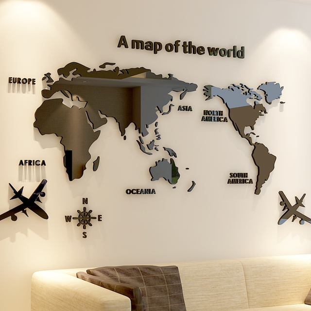 World map Acrylic 3D solid crystal bedroom wall with living room classroom stickers office decoration