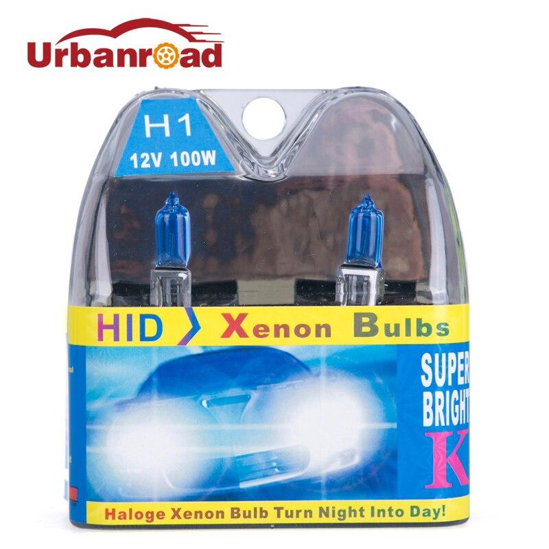 Coche 12 v 12 v 100 w h1 lámpara halógena 6000 k blanco bombilla de alta potencia Auto del coche de la fuente de luz de estacionamiento 6000 bombillas halógenas K faros antiniebla
