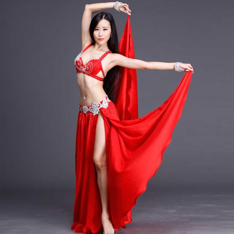 Rhinestone High Quality Performance wear costume Belly Dance 2pcs set for Women/female Silk Chiffon Bra Placketing Skirt BY006