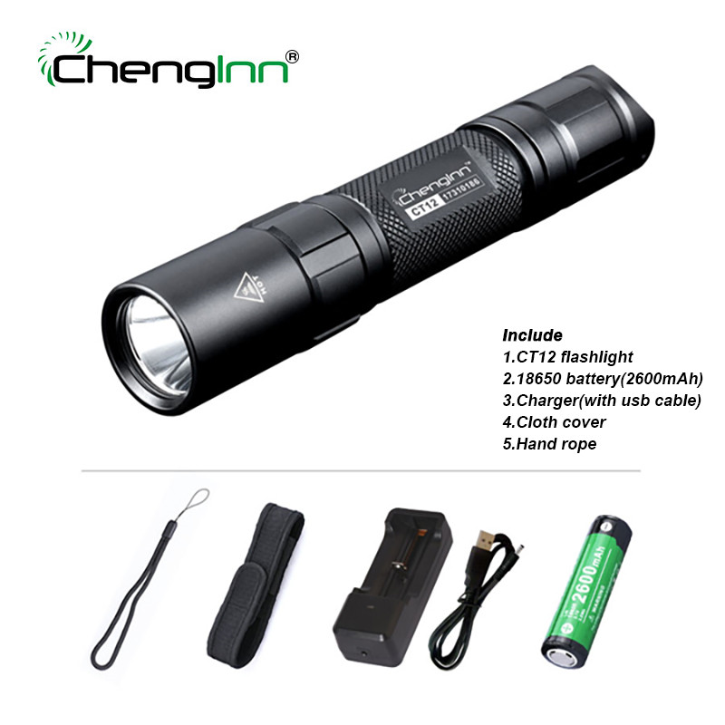 Chenglnn Tactical Flashlight Powerful Self Defense 1200LM Cree LED Light 6 Modes SOS Torch Lamp with 18650 Battery for Hunting