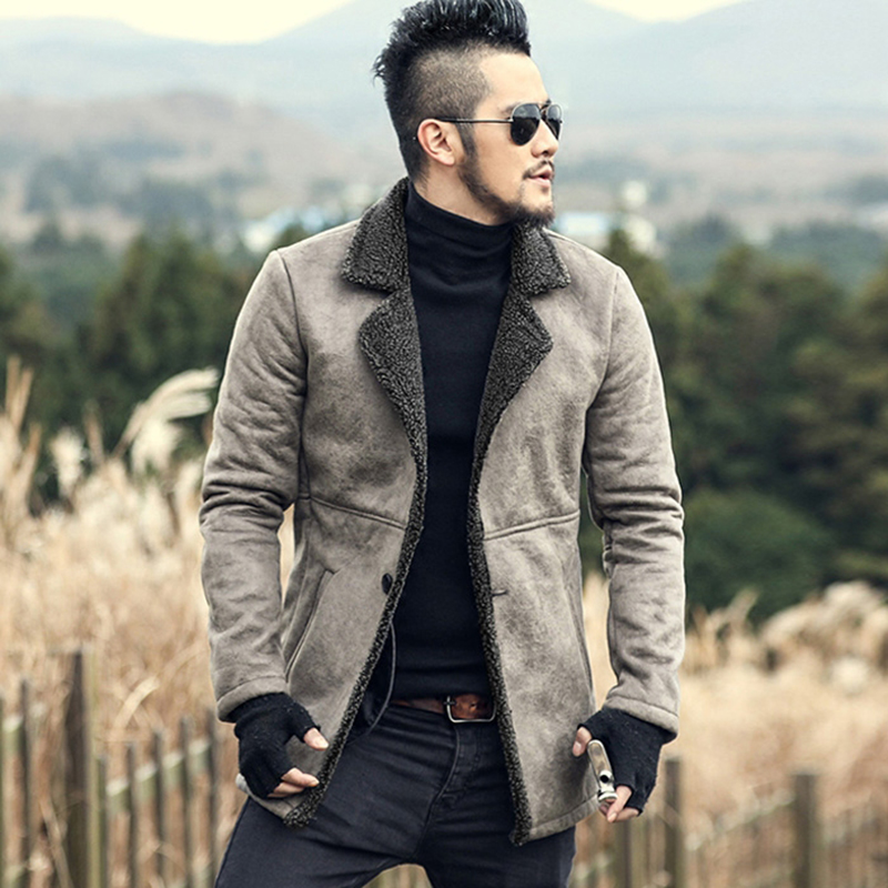 2017 Men Winter Faux Fur Woolen Long Slim Thick Warm Jacket Mens Coat European Style Fashion Brand Casual Retro Cashmere Jacket Moderate Price