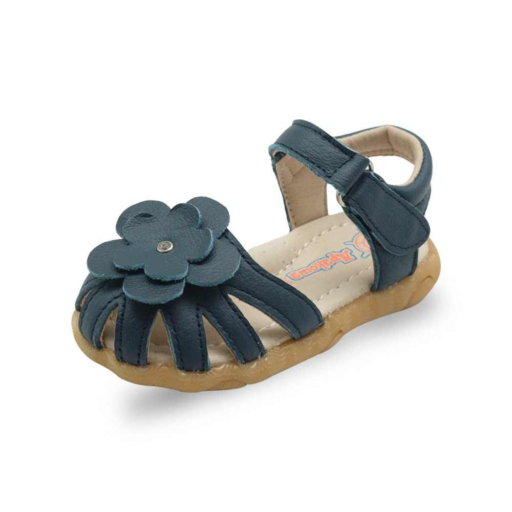 Apakowa Summer Girl's Sandals Children Genuine Leather Beach Close-toe Shoes Footwear with Arch Support Cute Flower EUR 21-26