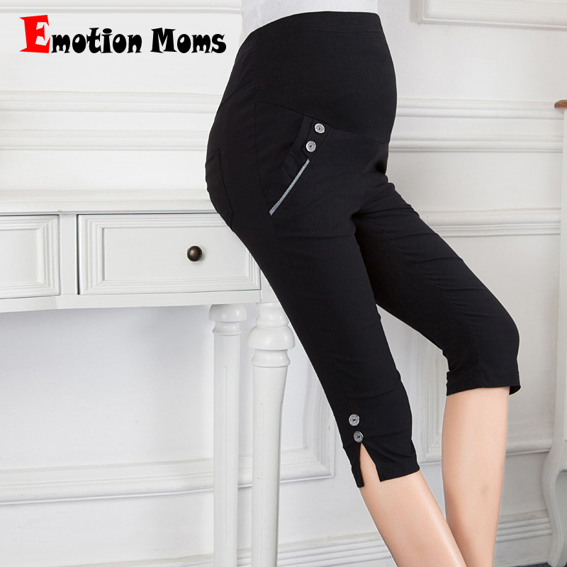 Emotion Moms Fashion Maternity Pants summer Maternity Trousers High waisted Pregnancy Trousers for pregnant women Capris fashion ripped high waisted loose jeans