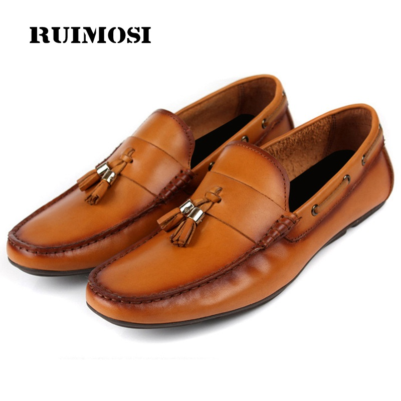 RUIMOSI New Arrival Man Flat Heels Casual Shoes Genuine Leather Comfortable Creepers Loafers Round Toe Men's Footwear VK55