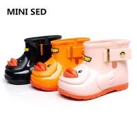 MINISED Children Boots 2017 New Duck Rain Boots Girl Boy Children Shoes Rain Kids Boot Low
