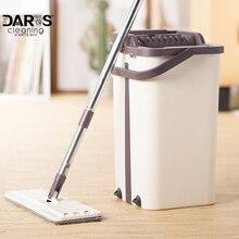 แบนบีบ Mop และถังฟรี Wringing ทำความสะอาดพื้น Mop ไมโครไฟเบอร์ Mop Pads เปียกหรือแห้งการใช้งานไม้เนื้อแข็งลามิเนตกระเบื้อง