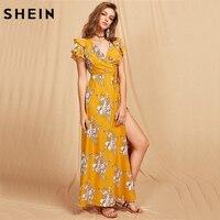 SheIn Women Flutter Sleeve Crisscross Back Surplice Wrap Botanical Dress Summer Yellow V Neck Cap Sleeve