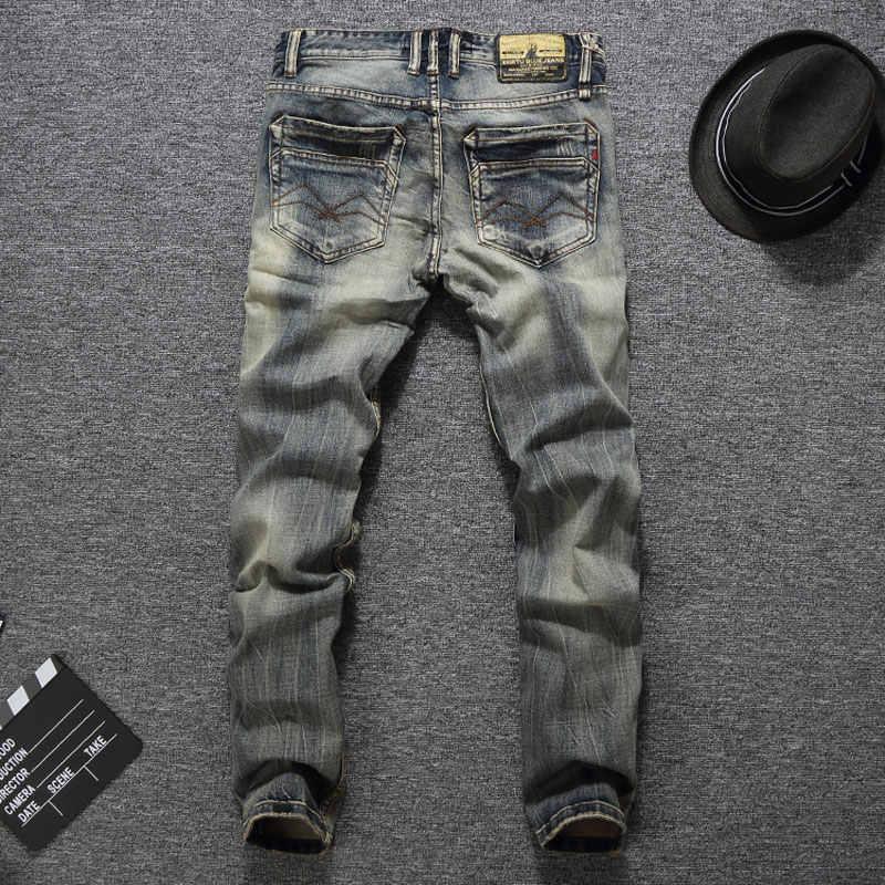 Italiaanse Vintage Designer Jeans Goede Kwaliteit Casual Broek Slim Fit Knoppen Klassieke Jeans Balplein Merk Jeans Mannen