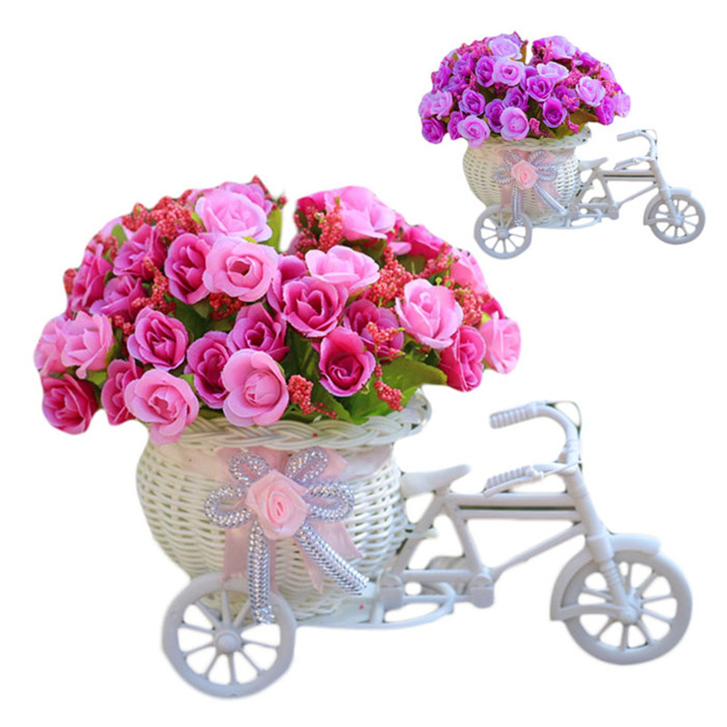 Rose,Purple Mini LOvely Home Furnishing Decorative Floats Bicycle Basket Weaving Simulation Set Diamond Rose Flowers home decor