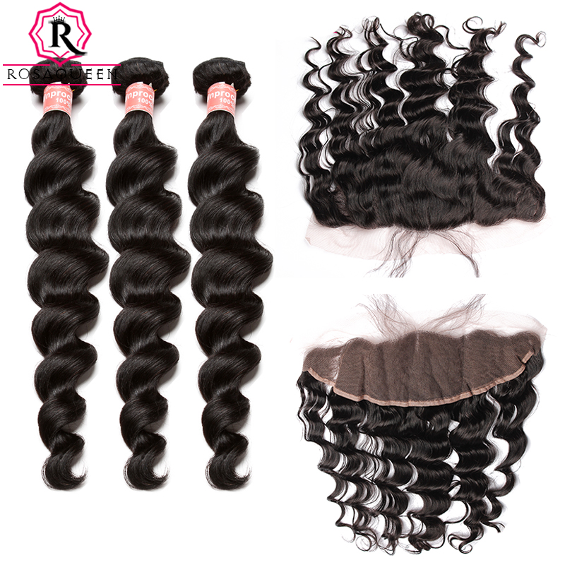 Loose Wave Bundles With Closure 3 4 PCS Brazilian Human Hair Bundles With Closure 13X4 Lace Frontal Rosa Queen Hair Products
