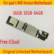 Wi-Fi версия для iPad 4 материнская плата с системой IOS, Оригинал разблокирован для iPad 4 материнская плата с бесплатным iCloud, 16 ГБ/32 ГБ/64 ГБ