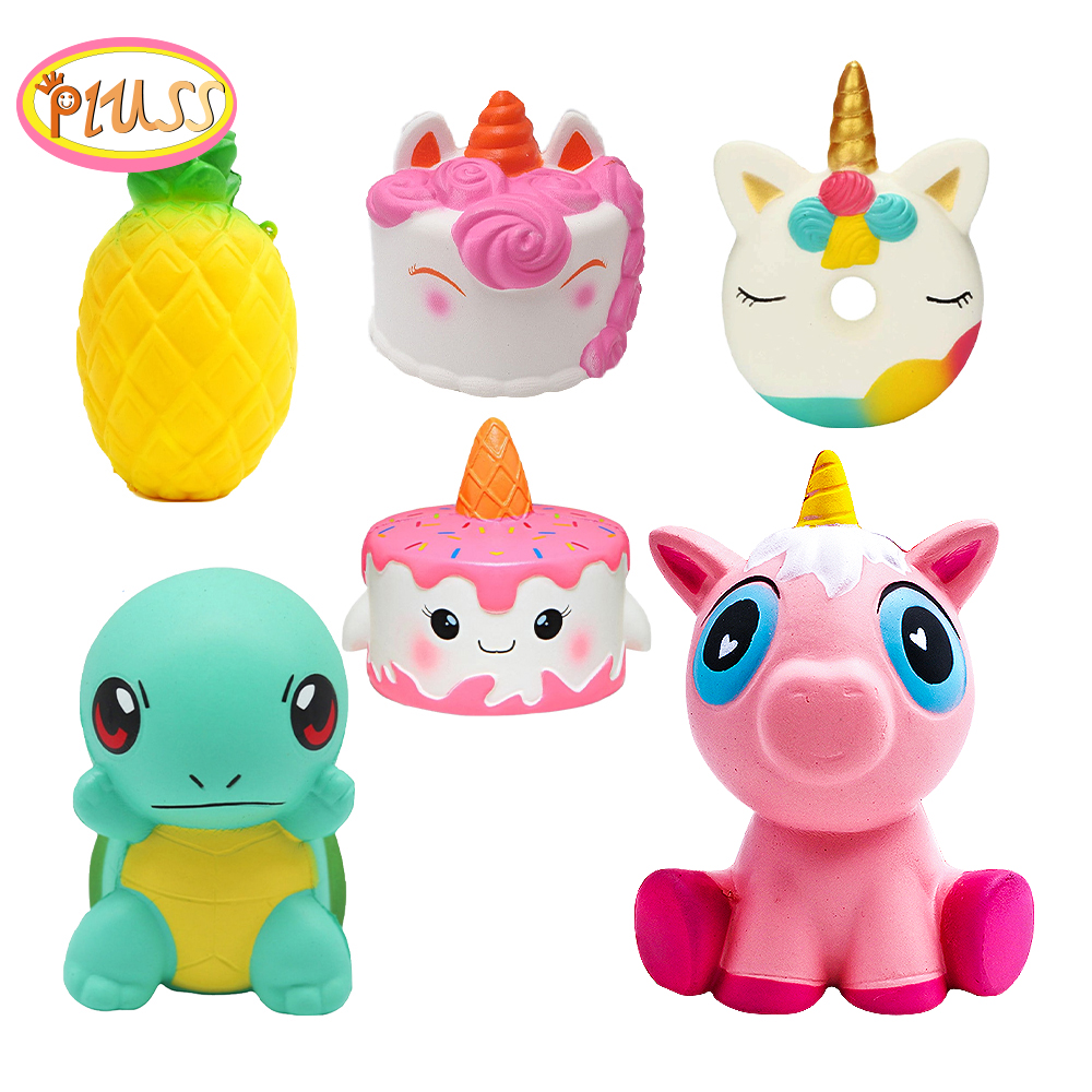 Squeeze Squishy Kawaii Ice Cream Galaxy Unicorn Popcorn Keychain Animal Wholesale Scented Cake Slow Rising Cute Collection Gift