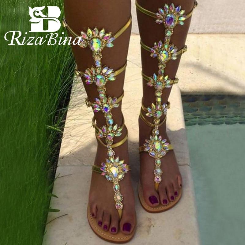 RIZABINA New Women Sandals Gladiator Flats Summer Shoes Women Flowers Cystal Fashion Party Shoes Women Footwear Size 35 43