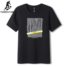 Pioneer Camp 100% Cotton Printed Casual Mens O-neck  Fashion Tops Men T-shirt Short Sleeve T shirt ADT903011