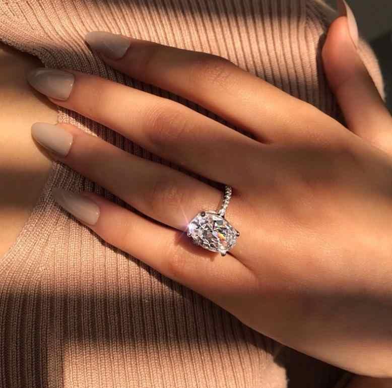 ขายร้อนแหวนผู้หญิงสีขาว AAA Zircon Cubic elegant แหวนหญิงเครื่องประดับอินเทรนด์ใหม่แหวนคริสตัล 6/ 7/8/9/10 ขนาด