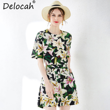 Delocah New Women Summer Cotton Suits Runway Fashion Half Sleeve Lily Floral Print And Tops T Shirt Casual Shorts Two Pieces Set