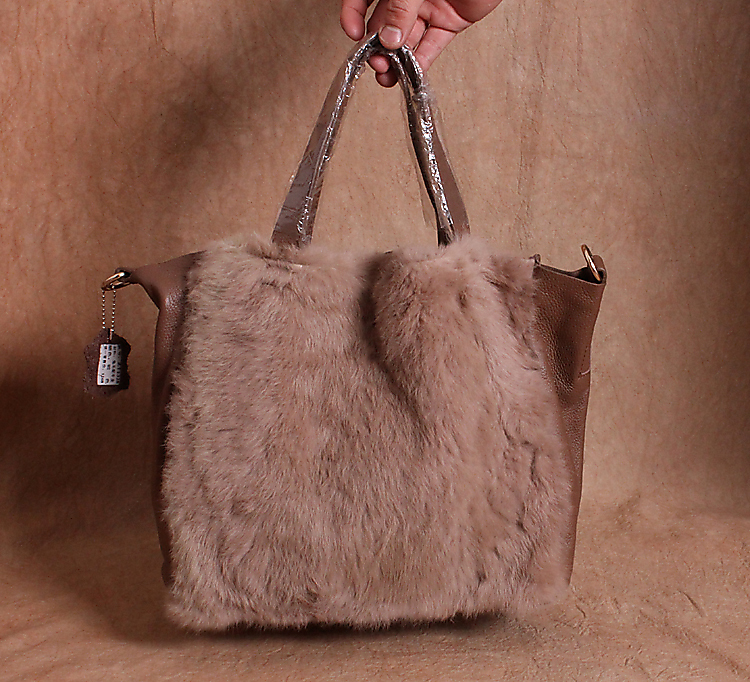 free shipping fashion fur and leather handbag natural wild rabbit bag  women real leather handbags