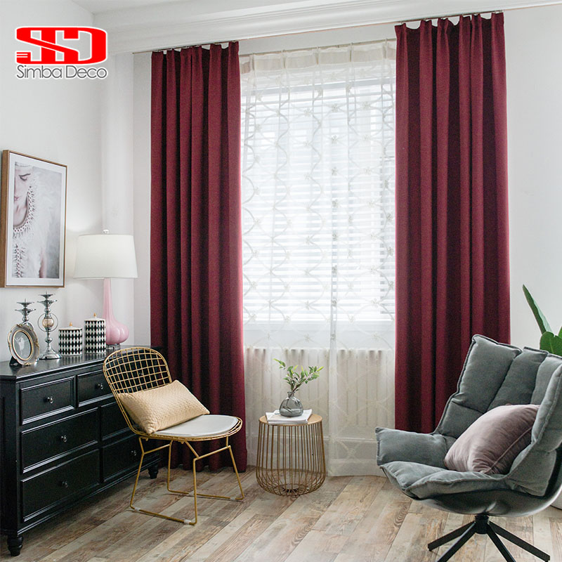 Solid Faux Linen Plain Blackout Curtains For Living Room