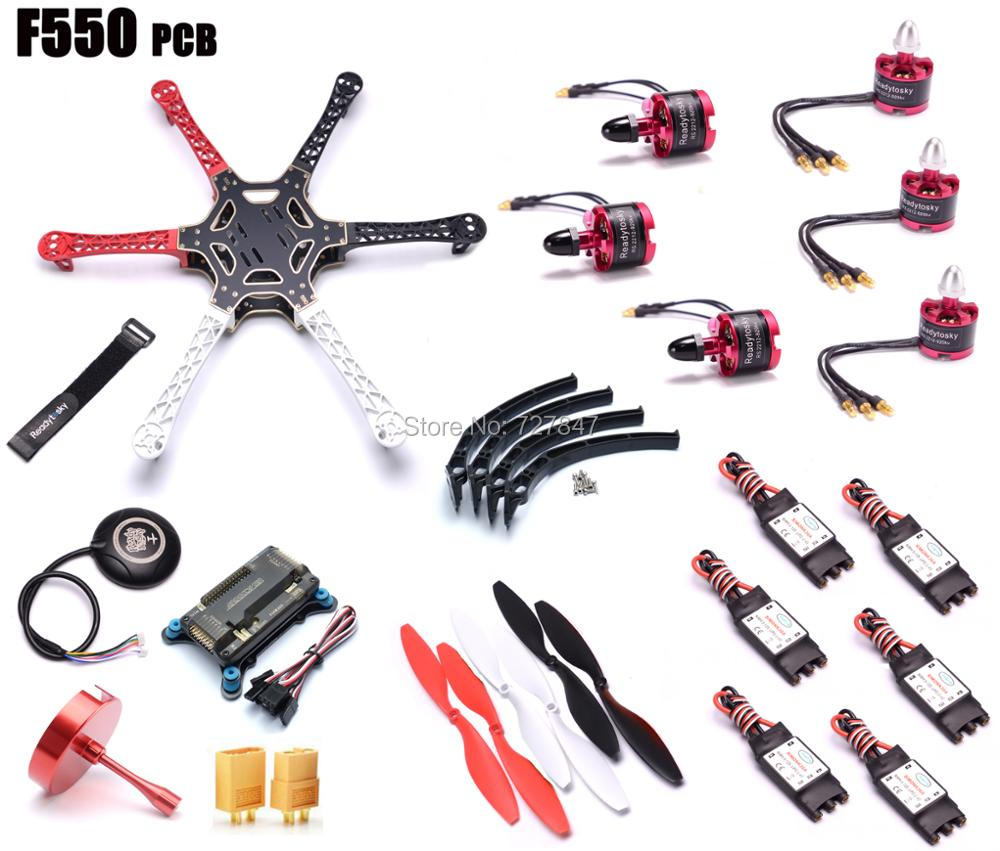 F550 Hexacopter Kit Frame w/ APM2.8 Flight control Neo-M8N GPS 2212 920KV cw/ccw 30A SimonK f550 atf hexacopter frame kit