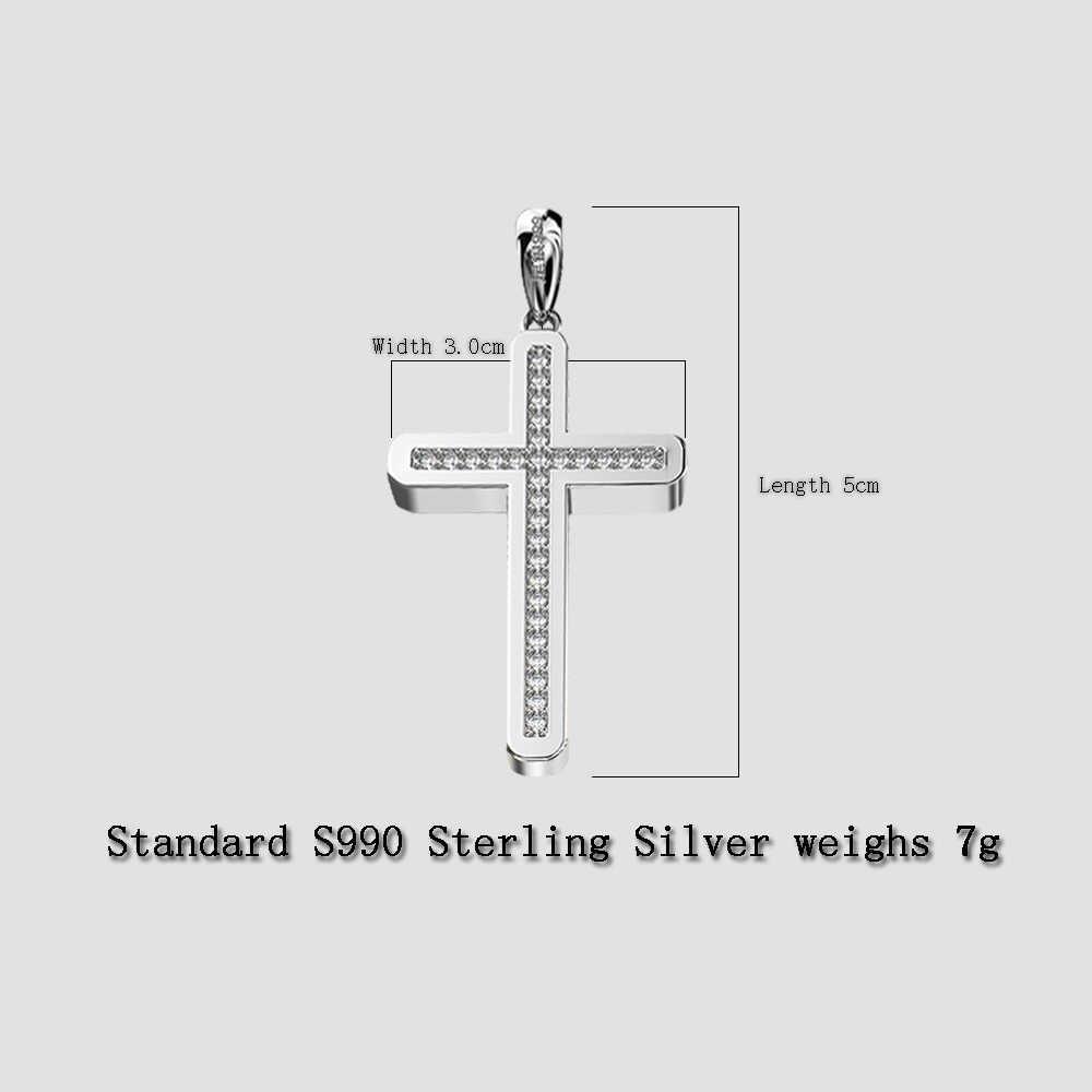 Hot-sprzedaży standard 925 Sterling Silver krzyż wisiorek wykwintne mozaiki cyrkon moda klasyczna biżuteria chrześcijaństwo