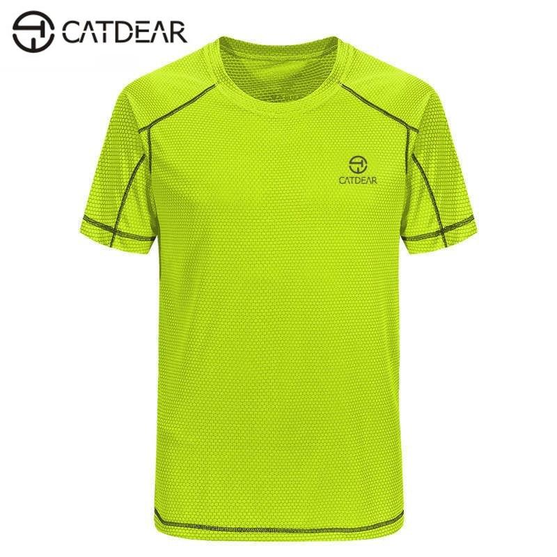 Marka CATDEAR Spor T-shirt Yaz Koşu Absorbe ter Çabuk kuruyan T-shirt Açık Spor Kamp Erkekler Çabuk kuru T-shirt