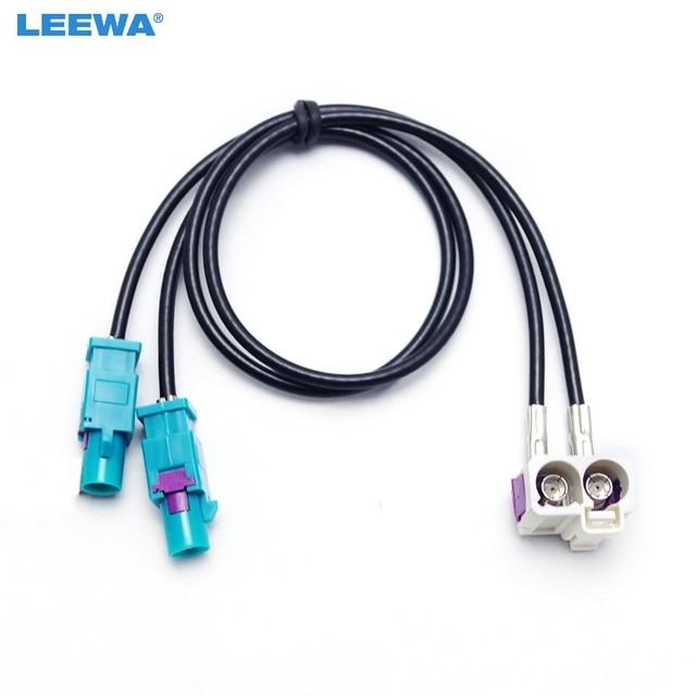 LEEWA OEM 2 A 2 Feminino Masculino FAKRA II Adaptador de Antena de Rádio Para VW Jetta/Golf MK5/MK6/Passat B6/B7/Tiguan RNS510 (MFD3)/RCD510/310
