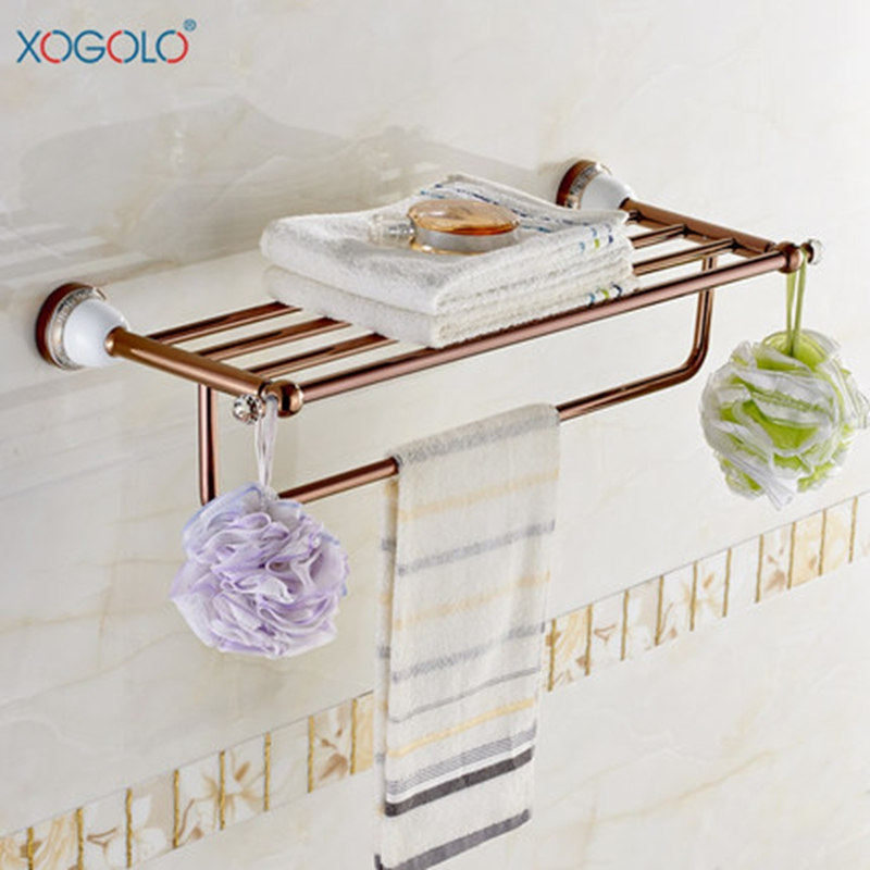 Xogolo Romantic Rose Gold Towel Rack Double Layer Copper Bath Towel Hanger With Bars Ceramic Mosaic Towel Holder Accessories xogolo solid copper bathroom bath towel shelf lavatory rack holder double layer towel bar accessories 8766 polished chrome