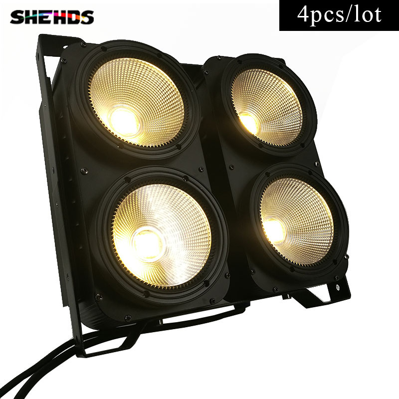 4pcs/lot Combination LED COB blinder light 4eyes 4x100W Warm/Cool/Warm+Cool White professional for KTV DJ StudioShow Club,SHEHDS blinder m45 x treme