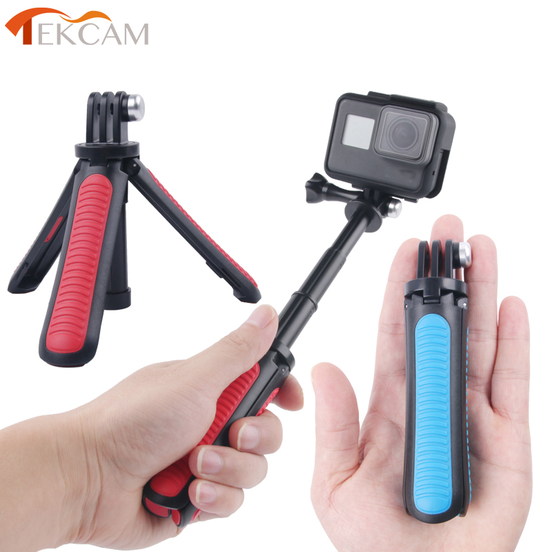 Tekcam Tripod Selfie Stick Mount for Go pro hero 7/6/5/4 Gopro Session Mount SJCAM SJ6 SJ7 SJ8 SJ5000/XIAOMI YI 4K Lite Eken h9r-in Sports Camcorder Cases from Consumer Electronics