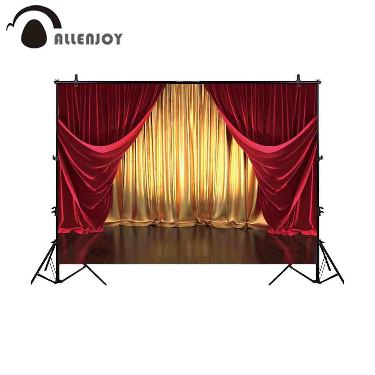 Allenjoy photography backdrop red curtain luxury stage golden theater background for photo studio shoot photobooth photocall new