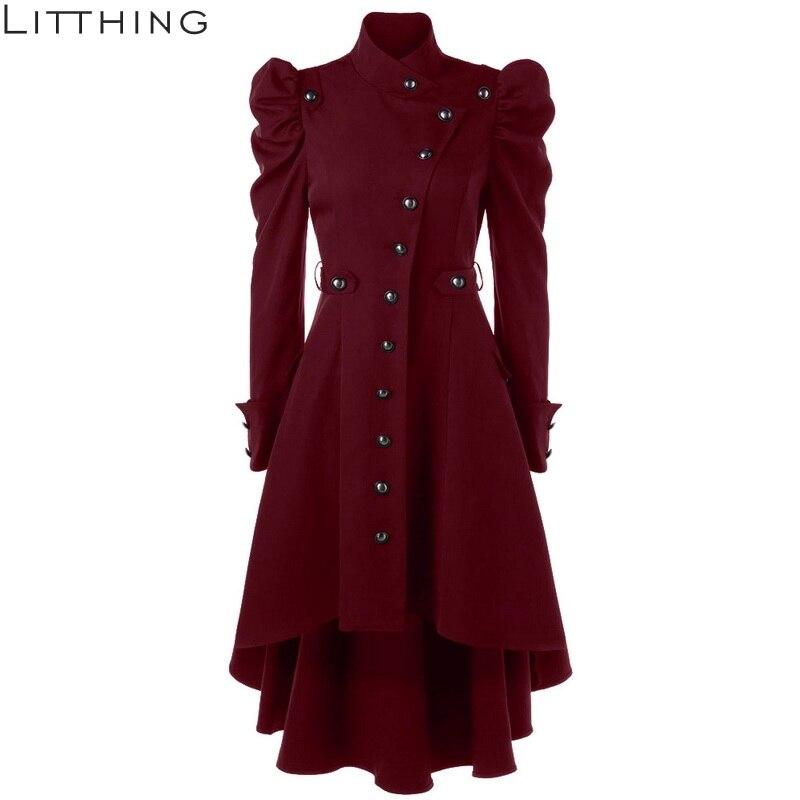 Litthing 2018 Winter Autumn Women Windbreaker   Trench   Coats Women's Overcoat Female Long Coat Button Elegent Vintage Goth Outwear