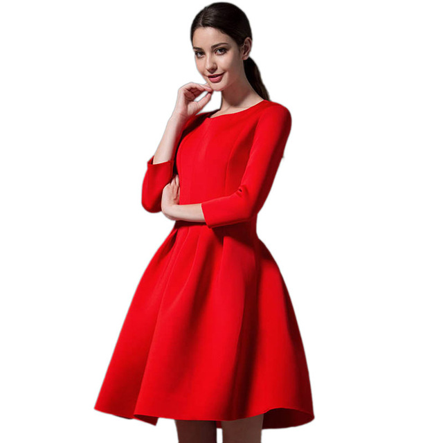 Long sleeve red dress casual